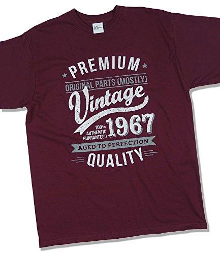 1967 Vintage Year - Aged to Perfection - 50 Cumpleaños Años - Regalo de Cumpleaños Camiseta para Hombre - Borgoña L