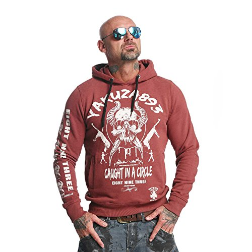 Yakuza Original Herren Caught In A Circle Hoodie Kapuzenpullover Marsala