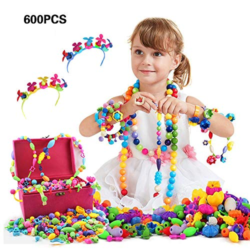 Pop Beads, Toys for 4, 5, 6, 7 Year Old Girls, Christmas Birthday Gifts, DIY Jewelry Making Kit for Hairband, Necklace,Ring , 600pcs Snap Pop Beads in Jewelry Box