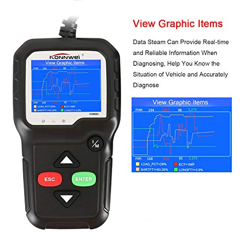 Enjoygoeu OBD2 Auto Diagnosegerät KW680 OBD2 Scanner Kfz Diagnose Universal Fehler-Auslesegerät Fehler-Auslesegerät Fehlercode zum Prüfen/Löschen für Alle 12V Benzin-Fahrzeuge ab 1996