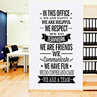 """ufengke home Motivational """"In This Office"""" Quotes Wall Art Stickers Inspirational Words Letters Simple Decorative Removable DIY Vinyl Wall Decals Ideal as Office Mural"""