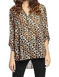 5e4ce1ba399c9d KaloryWee Chemisier Leopard Femme, Chemise Femme Manches Longue Printemps  été Fashion Lâche Top Mousseline De Soie Tunique Blouses…