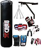 Madx - Set per la boxe da 13 pezzi con sacco da boxe pieno, guanti, catena, staffa di montaggio,...