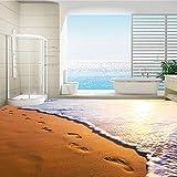 Xbwy Hd Sunset Of Seaside Golden Sand Beach Impronta Murale Per Camera Da Letto Pavimento Sfondo Personalizzato Pvc Carta Da Parati Autoadesiva-120X100Cm