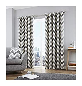 """Zig Zag Chevron Grey Cream Fully Lined 46"""" X 54"""" - 117cm X 137cm Ring Top Curtains from Curtains"""