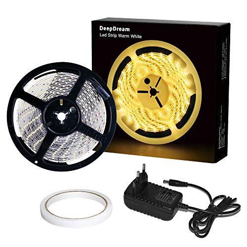 DeepDream 5m LED Strip Set 300 LEDs Lichtband mit Netzteil, 2835 SMD IP65 Wasserdicht LED Streifen Band Leiste, 3000K Warmweiß, 12V Innen und Außen Beleuchtung