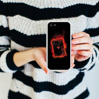 Apple iPhone 5 Housse Étui Silicone Coque Protection Ass C½ur Cartes Housse en silicone blanc