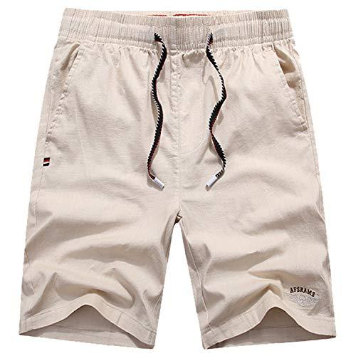 Leichte Slim Fit Baumwoll Leinen Shorts für Herren mit Gürtel Mint Summer,Sporthose Baumwolle und Leinen Stretch 3 4XL