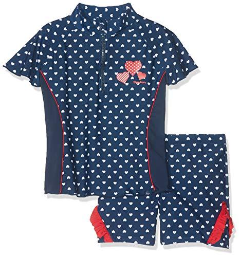 Playshoes Mädchen Badebekleidungsset UV-Schutz Bade-Set Herzchen, Blau (Marine 11), 98/104 (Was Eins Und Was Zwei T-shirts)