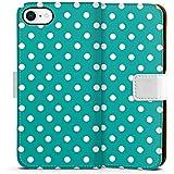 Apple iPhone 8 Tasche Leder Flip Case Hülle Dots Pattern Muster