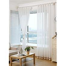 HOME UK- Un ensemble de 2 pcs Coréen Style Fils Cortin Blanc Pur Balcon Salon Chambre Rideau Produits Finis Semi-Shading ( taille : 1.5*2.7m (width*height) )