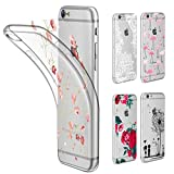 Funda iphone 6 / 6S Transparente , Leathlux Suave Silicona Carcasa Protectora TPU Cover + [5 PCS Ultra Delgado DIY Tarjetas Reemplazable con Patrón Hermosa] Crystal Claro Funda para Apple iphone 6S / 6 4.7 Pulgada