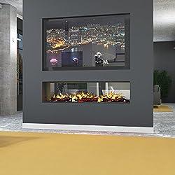 muenkel Design Túnel FUEGO electrónico Pro - opti-myst elektrokamineinsatz: 2200mm - con holzimitat - con vidrio (una cara ) - 4.000 vatios potencia de calefacción