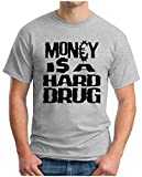 OM3 - MONEY IS A HARD DRUG - T-Shirt ANTI CAPITALISM Blockupy Frankfurt, 5XL, Grau Meliert