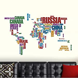 Buy decals design world map with country names wall sticker pvc decals design world map with country names wall sticker pvc vinyl 90 cm x 60 cm gumiabroncs Image collections