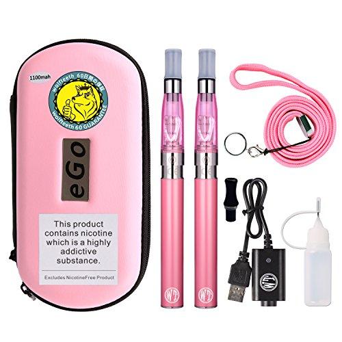 WOLFTEETH 2 Pack CE4 E Sigaretta Starter Kit | 1100mAh Batteria Ricaricabile | CE4 Atomizzatore Liquido Ricaricabile | Sigaretta Elettronica Vaporizzatore Caso Set | Senza Nicotina e Tabacco Rosa/10502