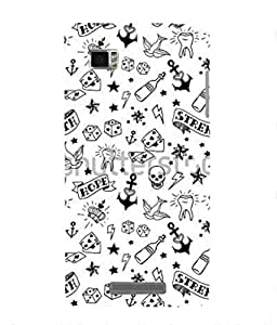 For Lenovo K910-Livingfill- Black and white print doodle sea Printed Designer Slim Light Weight Cover Case For Lenovo K910(A Beautiful One of the Best Design with a Classic Theme & A Stylish, Trendy and Premium Appeal/Quality) (Red & Green & Black & Yellow & Other)