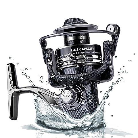 zoostliss Spinning Angelrollen Big Fish Reel Süßwasser Inshore Salzwasser mit Übersetzung 5: 2: 1Links/Rechts Austauschbare Klappgriff Angelrolle 1000