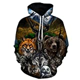 SHHGYBZYQ 3D Tier Gedruckte Hoodies Männer Frauen Sweatshirts Bär Wolf Eule Fuchs Pullover Neuheit Trainingsanzüge Mode Lässig mit Kapuze Streetwear, XXXXL