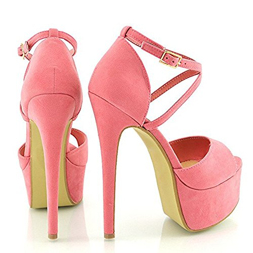 Damen Open Toe Plateau Stiletto High Heel Pumps Schluepfen Knoechel Cross Strap Buckle Party Schuhe Nubuk-Pink
