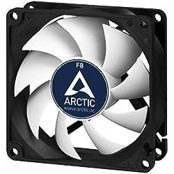 ARCTIC F8 Standard - 80 mm, Ventilateur Haute Performance, Ventilateur Boitier, Refroidisseur Silencieux pour Unité Centrale, Roulement à Fluide Dynamique, Support à Broches Standard