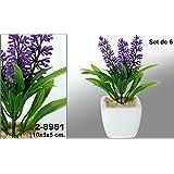 DonRegaloWeb - Set de 6 macetas cuadradas con flores artificiales lavanda decoradas en color blanco, verde y violeta.