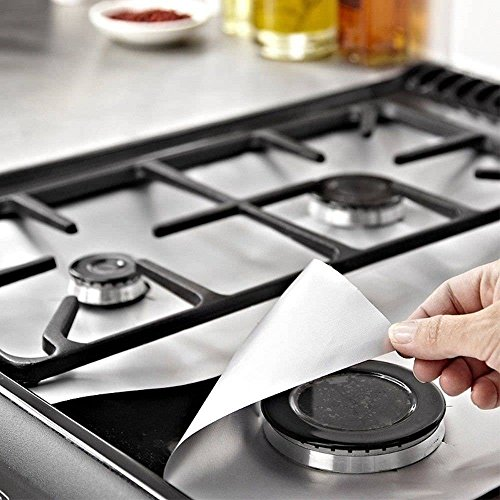 Fone-Stuff Reusable Gas Hob Protector Teflon Sheet Pack of 6, Hob Stove-top Burner Covers, Universal Heavy Duty Oven Liner, Non-Stick Foil, Lining Easy Clean, FDA-Approved, Silver by PurpleSalt®