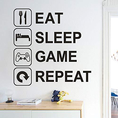 Zimmer Eat Sleep Spiel Wiederholen Abnehmbare Art Vinyl Wandbild Home Room Decor Wandaufkleber Wandaufkleber Wohnkultur Wohnzimmer 51X51 cm ()