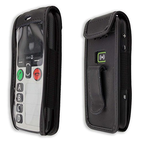 caseroxx Handy-Tasche Ledertasche mit Gürtelclip für Doro Secure 580 / 580IUP aus Echtleder, Handyhülle für Gürtel (mit Sichtfenster aus schmutzabweisender Klarsichtfolie in schwarz)