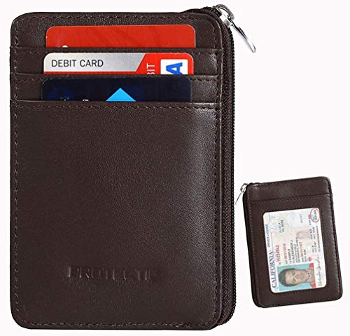 Rfid Blocking Secure Mini Wallet & RFID Sleeve Genuine Leather Front Pocket Wallet, Best Protection for your Credit Cards (coffee)¡­ by Protectif -
