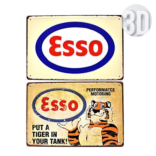 PEI's 2 Stück geprägte Retro Vintage Blechschild, Esso Extra The Famous Benzine, 8x12/20x30 cm
