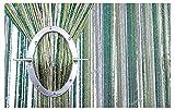 FKL Fadenvorhang Fadengardine Türvorhang 100x200 / 150x250 / 300x250 cm (8b. Grün-Golden-Weiß, 300 x 250 cm)