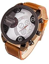 Relojes Hombre,Xinan Análogos de Lujo Deporte Caja Acero del Cuero Cuarzo Reloj Pulsera (Blanco)