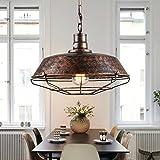 Retro Vintage Industrielle Design Pendelleuchte E27 1 flammig Loft Lampe Eisen Antik Hängeleuchte Retrolampe Innen Wohnzimmerlampe Esszimmerlampe Esstischlampe Max 40W Ø46cm H120cm Rost