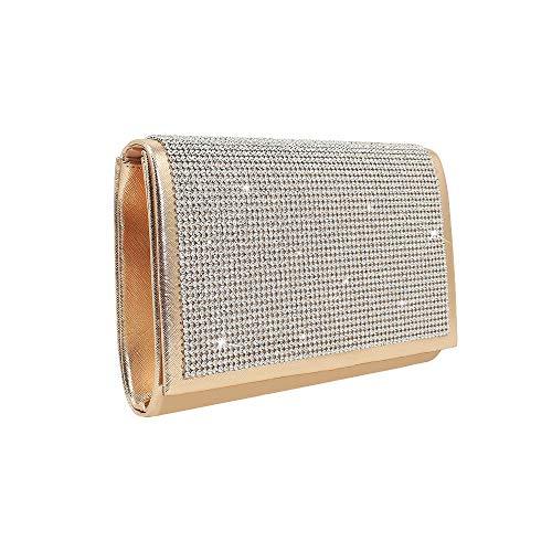 Runhuayou Schwarz besteck Bernstein Mode Damen pu Leder net Diamant Abendessen Tasche Handtasche 21 * 5 * 14cm Ideal für zwanglose oder viele andere Anlässe wie (Farbe : Gold) - Bernstein-leder-geldbörse