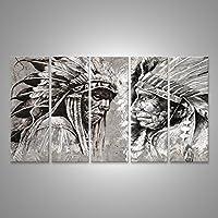 Cuadro Cuadros Native Indian Head americano, jefe, estilo retro Impresión sobre lienzo - Formato Grande - Cuadros modernos