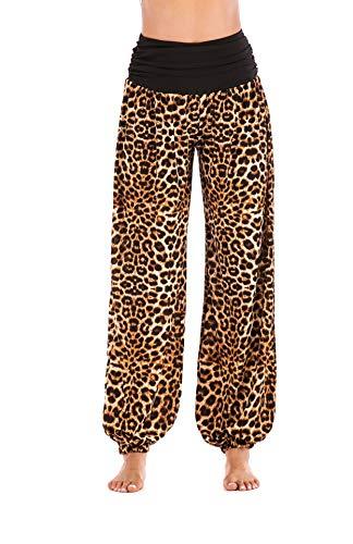 CuteRose Womens Yoga Pilates Leopard Print Smocked Waist Soft Chic Harem Pants Brown XL - Dark Leopard-print-hose