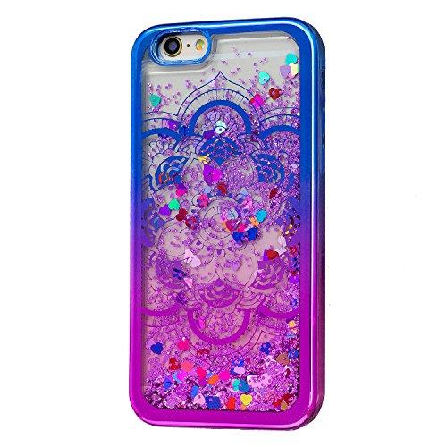 Coque iPhone 6, Coque iPhone 6S Silicone, SpiritSun Bling Bling Etui Coque de Protection Housse Téléphone TPU Ultra Mince Bumper pour Apple iPhone 6 / 6S (4.7 pouces) Glitter Liquide Case Cover en Cœu Mandala