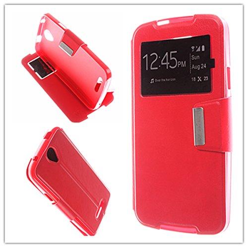 MISEMIYA - Schutzhülle Cover für Doogee X6 - Hüllen, Cover View Unterstützung, Rot