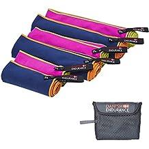 Mikrofaser Reisehandtuch von DANISH ENDURANCE, ultrakompakte, leichte, saugfähige und schnell-trocknende Handtücher. Ideal für Reisen, Rucksackreisen, Backpacking, Camping, Sport, Fitnessstudio, Yoga, Schwimmen, CrossFit. Verfügbar in 3 verschiedenen Größen und unterschiedlichen Farben. Inklusive praktischer Aufbewahrungstasche.