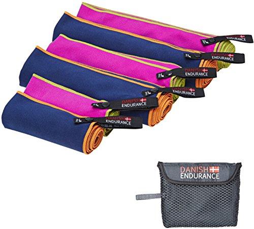 Mikrofaser Sport & Reisehandtücher von DANISH ENDURANCE, leichte, saugfähige & schnell-trocknende Handtücher. Mikrofaser Handtücher ideal für Fitnessstudio, Reisen, Camping, Yoga, Pilates, Schwimmen. Test