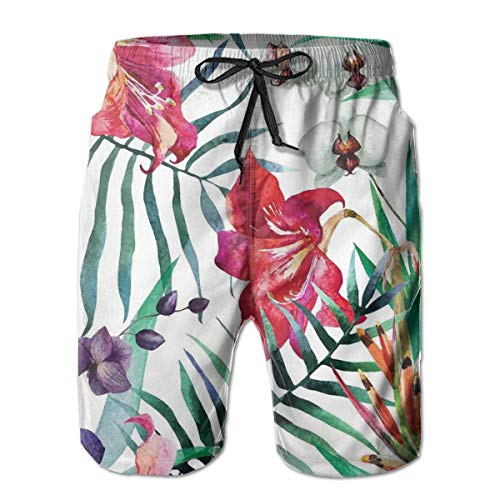 MIOMIOK Mens Beach Shorts Swim Trunks,Tropical Wild Orchid Flowers with Palm Leaves Print Exotic Style Nature Artwork Multi_2,Summer Cool Quick Dry Board Shorts Bathing SuitL Orchid Print Dress