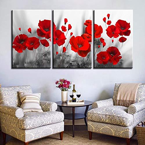 XLST Segeltuch Gemälde Wohnkultur Drucke Romantisch Mohnblumen Poster 3 Stück rot Blumen Bilder Für Wohnzimmer Modular Wandkunst Gerahmt,A,40X60X3