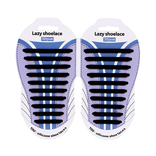 Wwin Ein Paar 10 Verschiedene Größe Silikon Schnürsenkel Lazy Keine Krawatte Tieless Spitze für Kinder / Erwachsene Geeignet für alle Sneakers Wasserdichte Gummi Flache Laufschuh Schnürsenkel