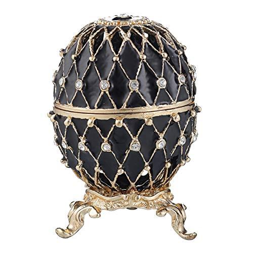 Russische Fabergé-Stil geschnitzt Ei/Schmuckkästchen mit Gitter 7,5 cm schwarz -
