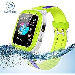 Jslai Niños Smartwatch Imprägniern,Inteligente Relojes Telefono, LBS Tracker de Alarma SOS Infantil Relojes de Pulsera Cámara Reloj móvil Mejor Regalo para Niño niña de 3-12 años (Green-Blue)