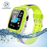 Jaybest Kinder Smartwatch Telefon Uhr,wasserdichte Kid Smart Watch für Jungen Mädchen mit LBS Tracker SOS Anruf Kamera Anti-Lost Voice Chat(Green-Blue)