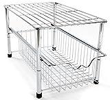 Amtido Metallgitter-Regal mit Korbschublade unter Waschbecken für Küchenschrank, Unterschrank aus Metallgitter für Küche und Badzimmer – aus Chrom
