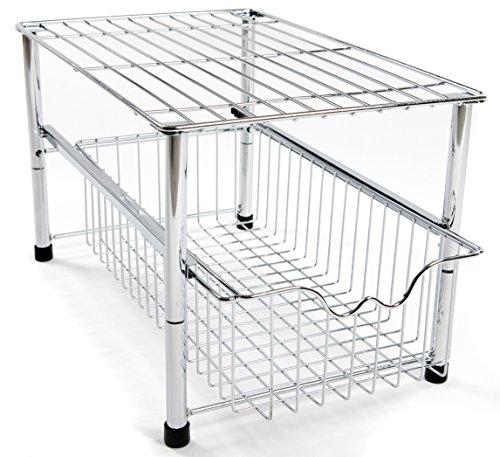 Amtido Metallgitter-Regal mit Korbschublade unter Waschbecken für Küchenschrank, Unterschrank aus Metallgitter für Küche und Badzimmer - aus Chrom (Küche-schrank Metall-regal)