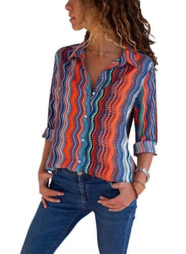 39a746f6c Aleumdr Mujer Camisa Retro Mangas Largas Blusa Vintage Camiseta a Rayas  Size S